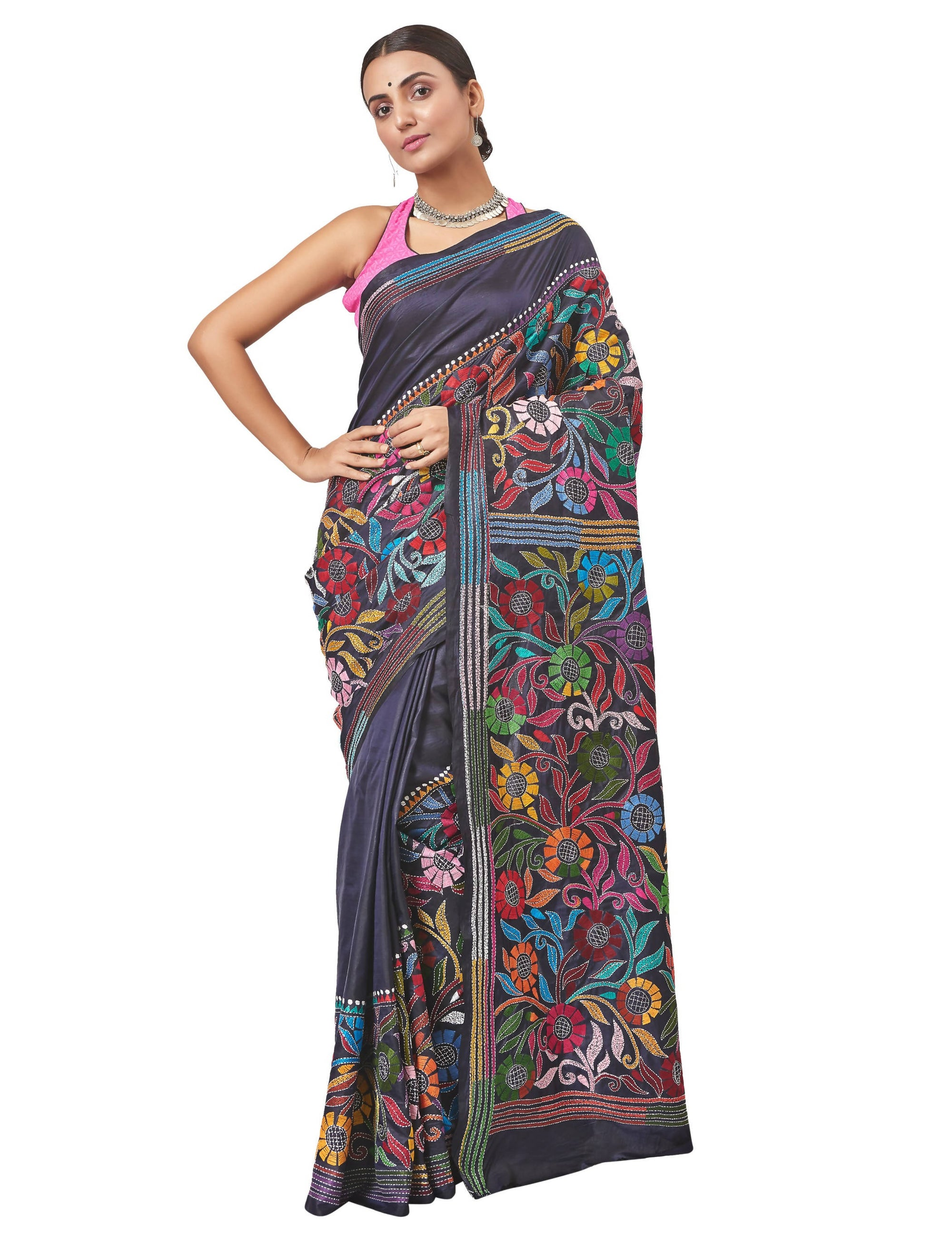 Biswa Bangla Handloom Kantha Silk Saree - Multicolour