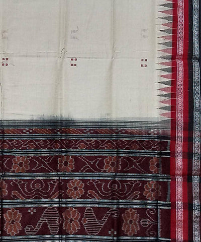 Offwhite and Black Nuapatna Handwoven Cotton Saree