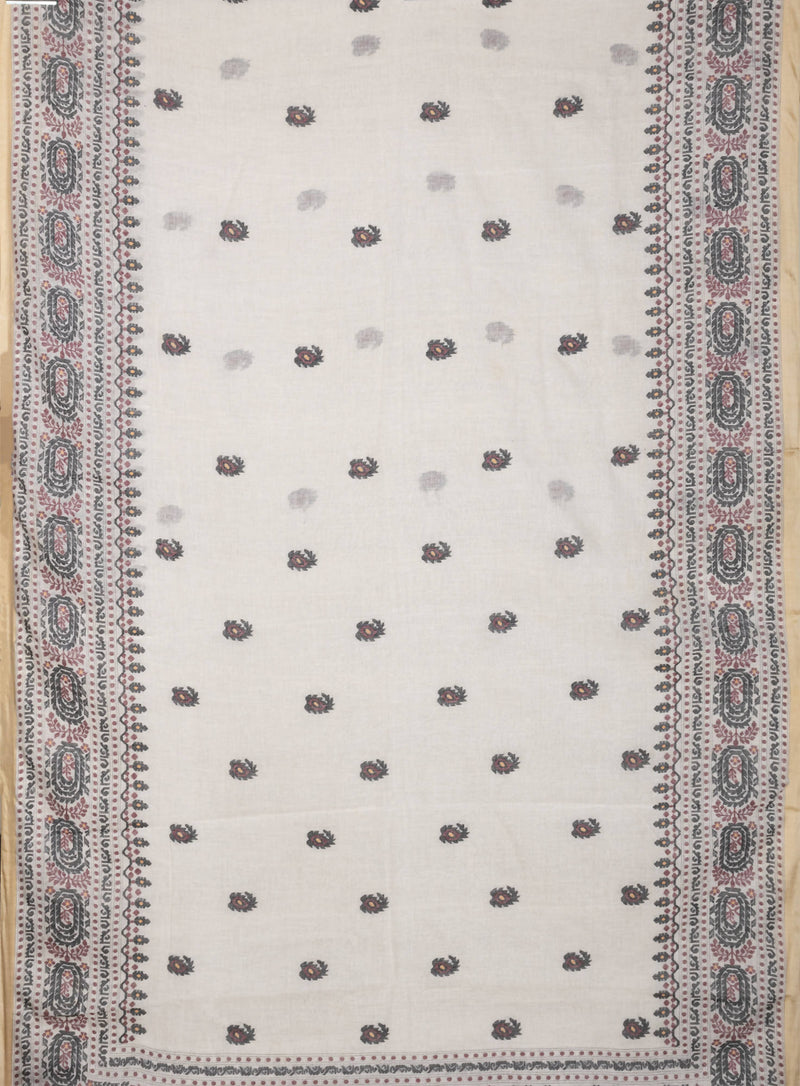 Biswa Bangla Handwoven Off white Single shuttle Khadi Jamdani Saree