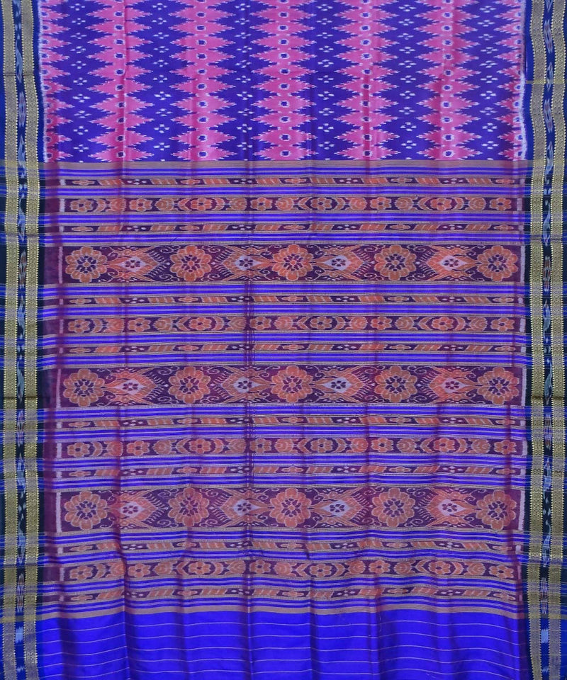 Blue Pink Handwoven Khandua Silk Saree