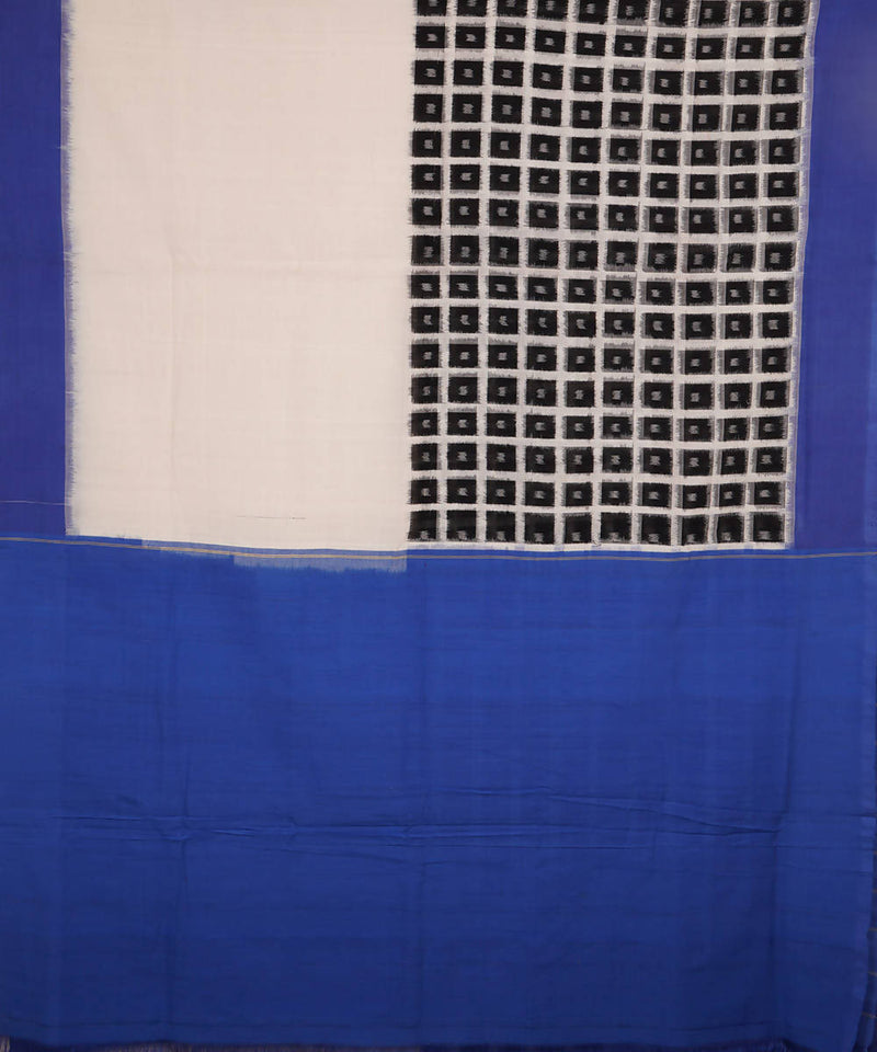 White Black Blue Handloom Ikkat cotton Saree