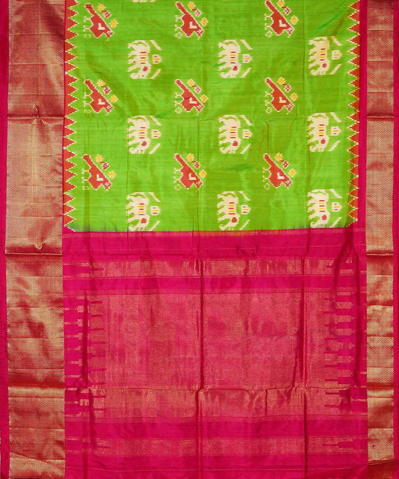 Handloom Parrot Green Pink Ikat Silk Saree