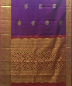 Dark Violet Butta Work Handloom Silk Saree