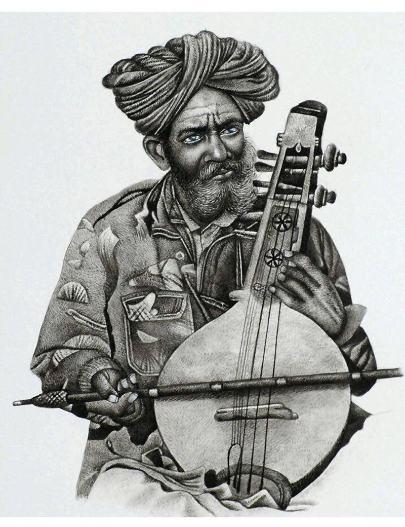 Handmade with maskara musician miniature painting (black and white) on handmade paper