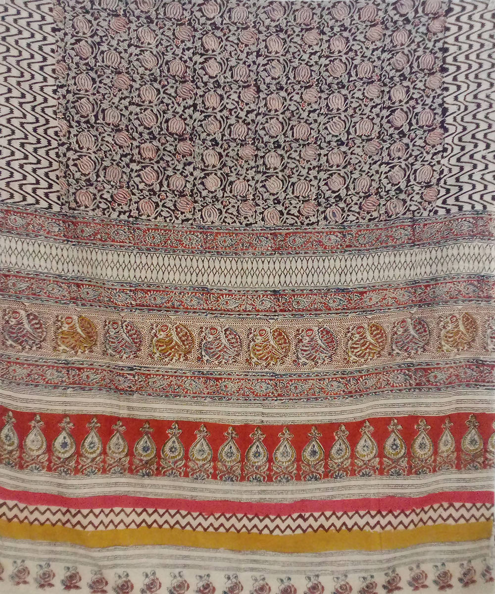 Multi color Kalamkari handblock print cotton saree
