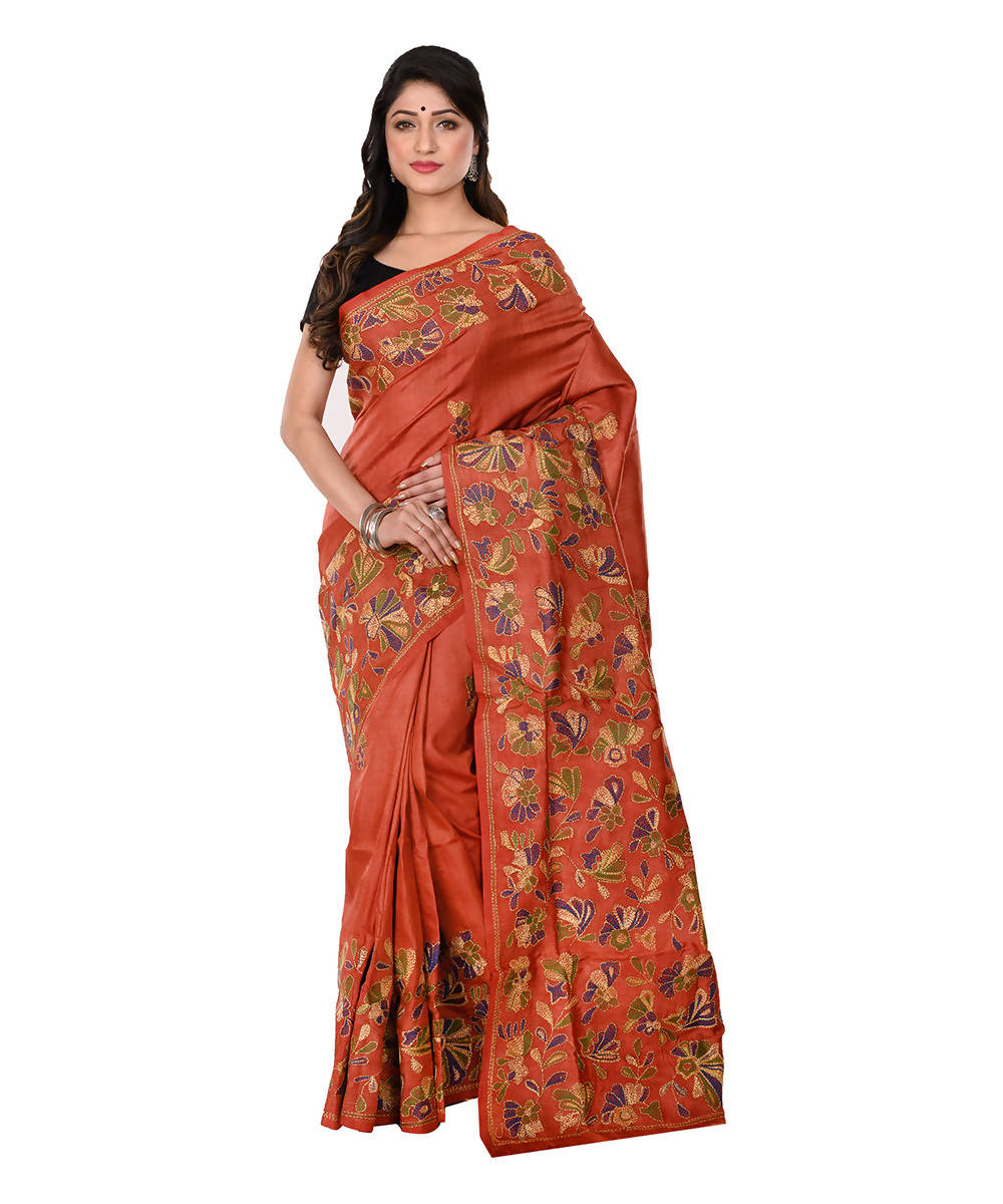 Brown Kantha Hand stitched Silk Saree
