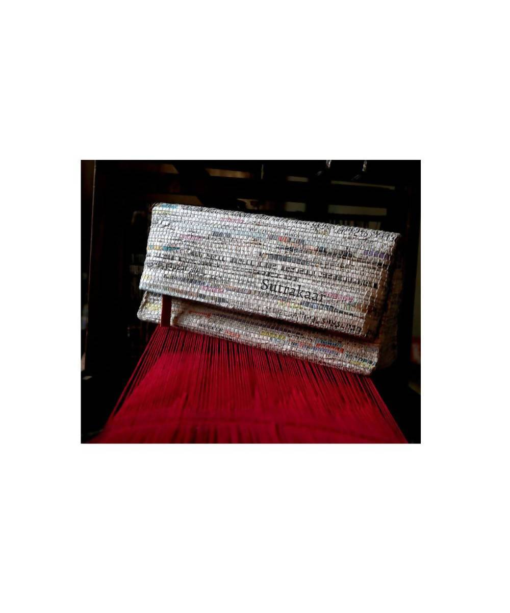 Newspaper Handmade Cotton Foldover Clutch