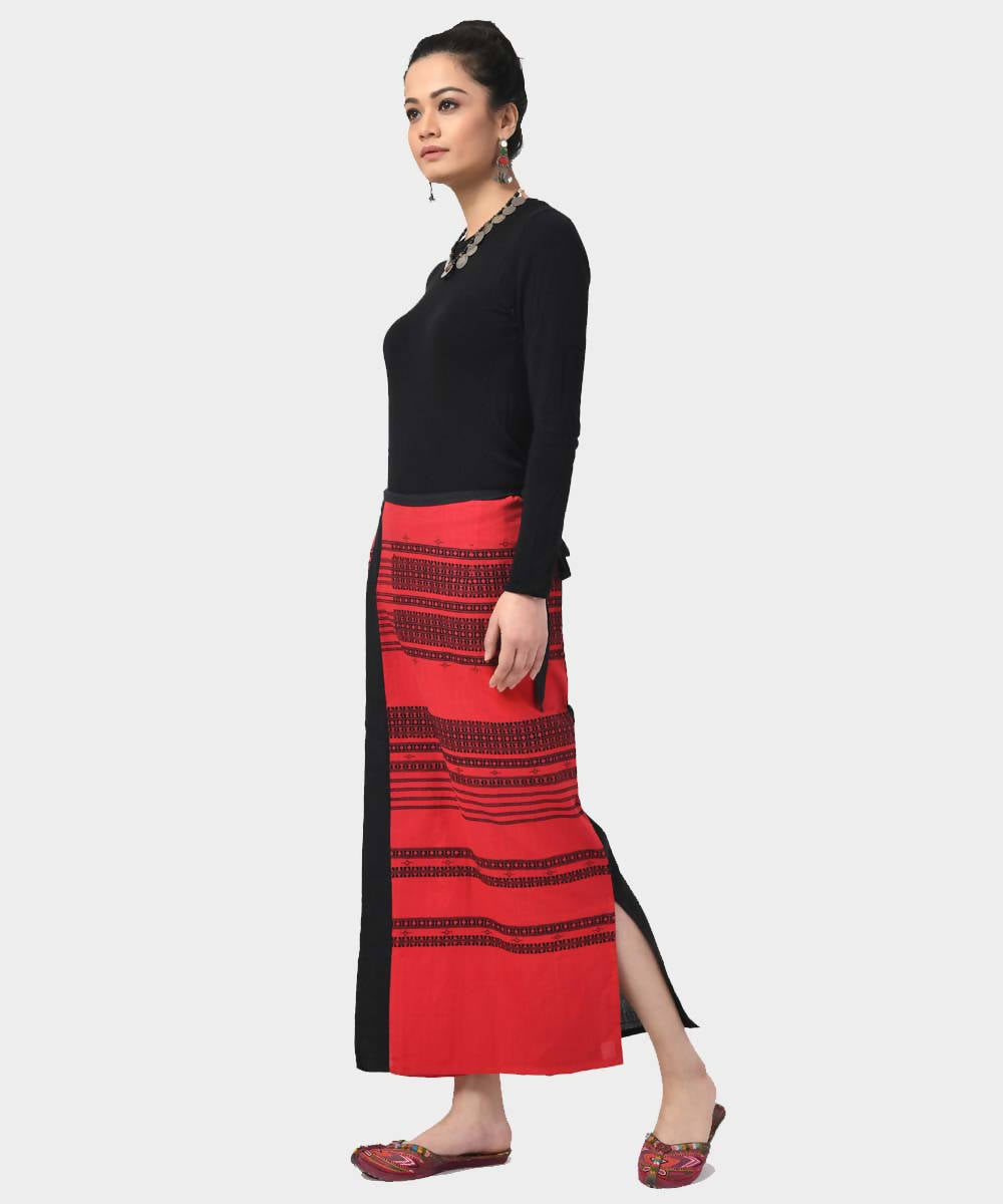 Red Handloom Cotton Wrap Around Skirt