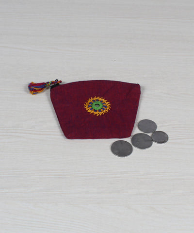 Mauve Violet Lambani Embroidery Coin Pouch