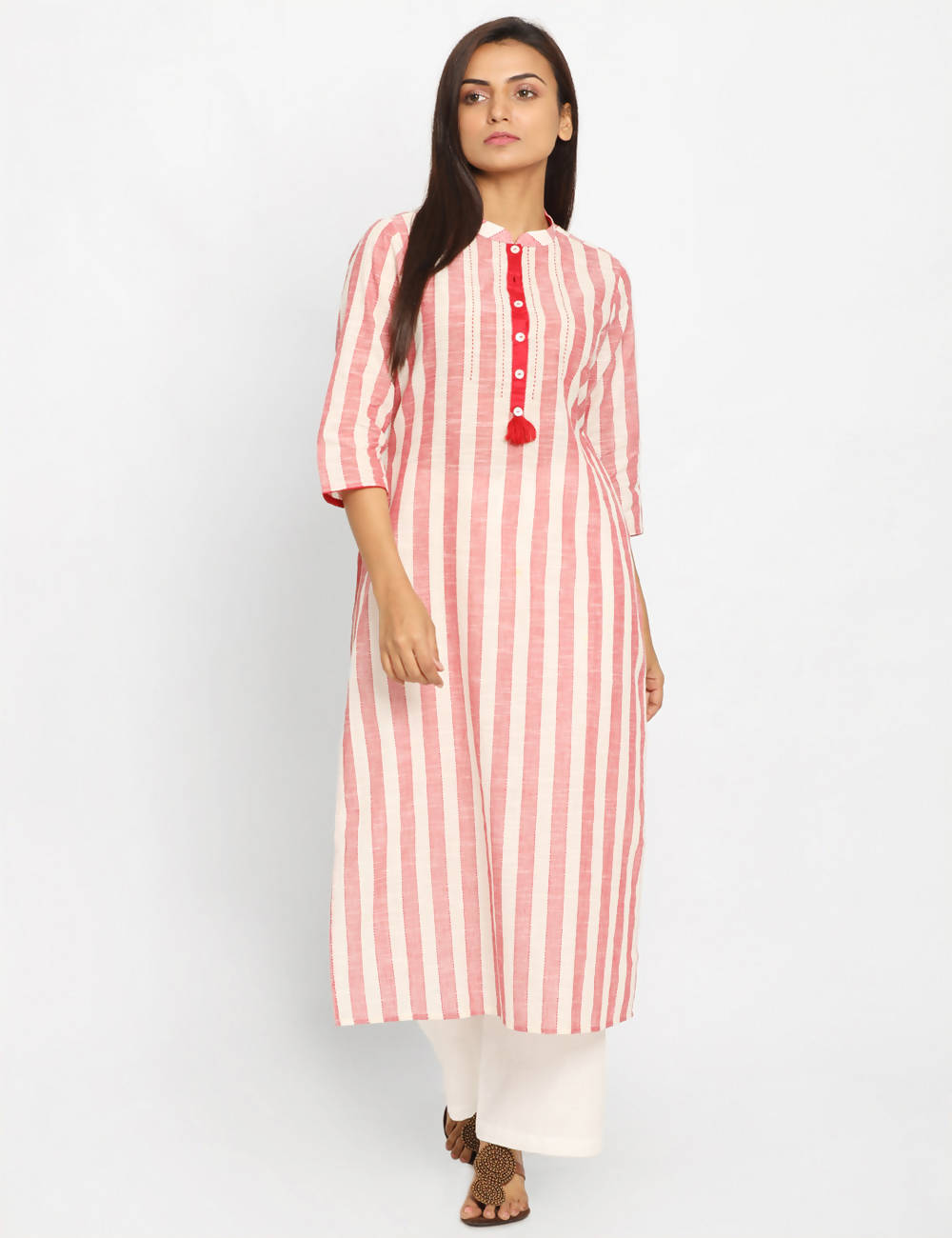 red white striped Handwoven Cotton Kurta