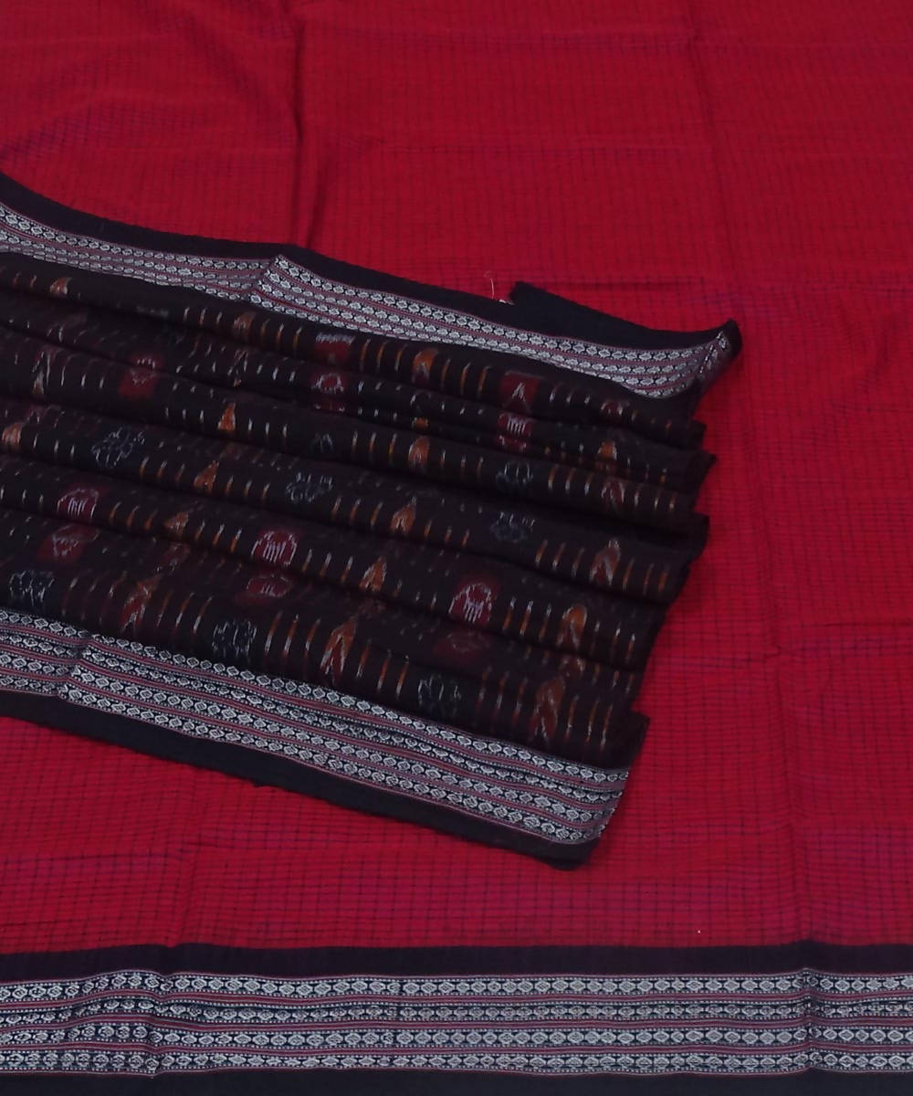 Handwoven red black bomkai cotton saree