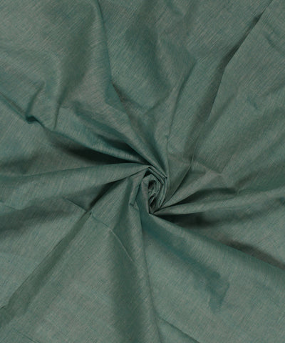 White and Aqua Green Khadi Cotton Fabric