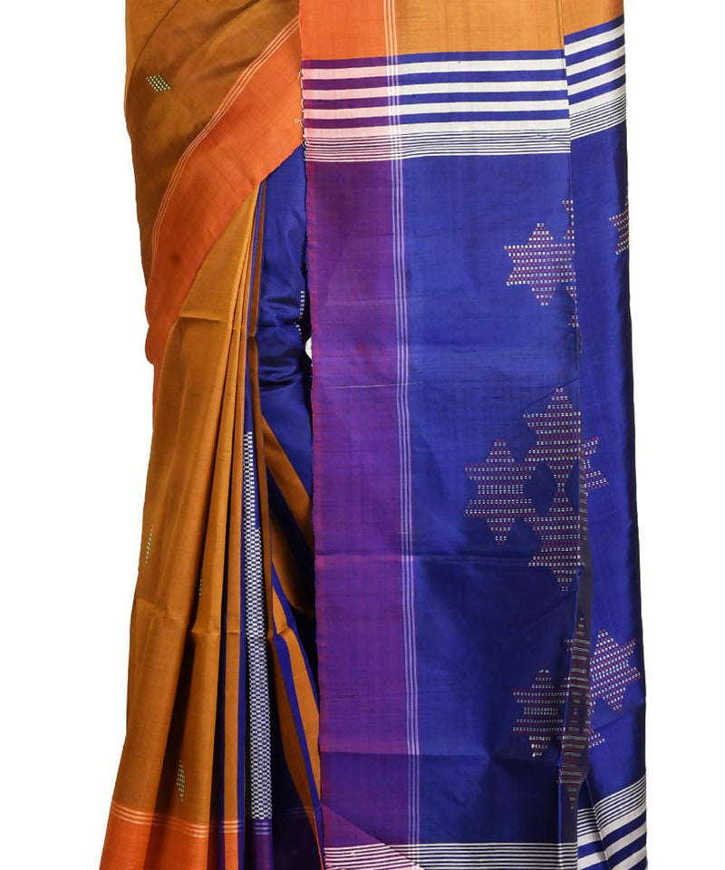 Resham shilpi yellow bengal silk saree with handwoven design