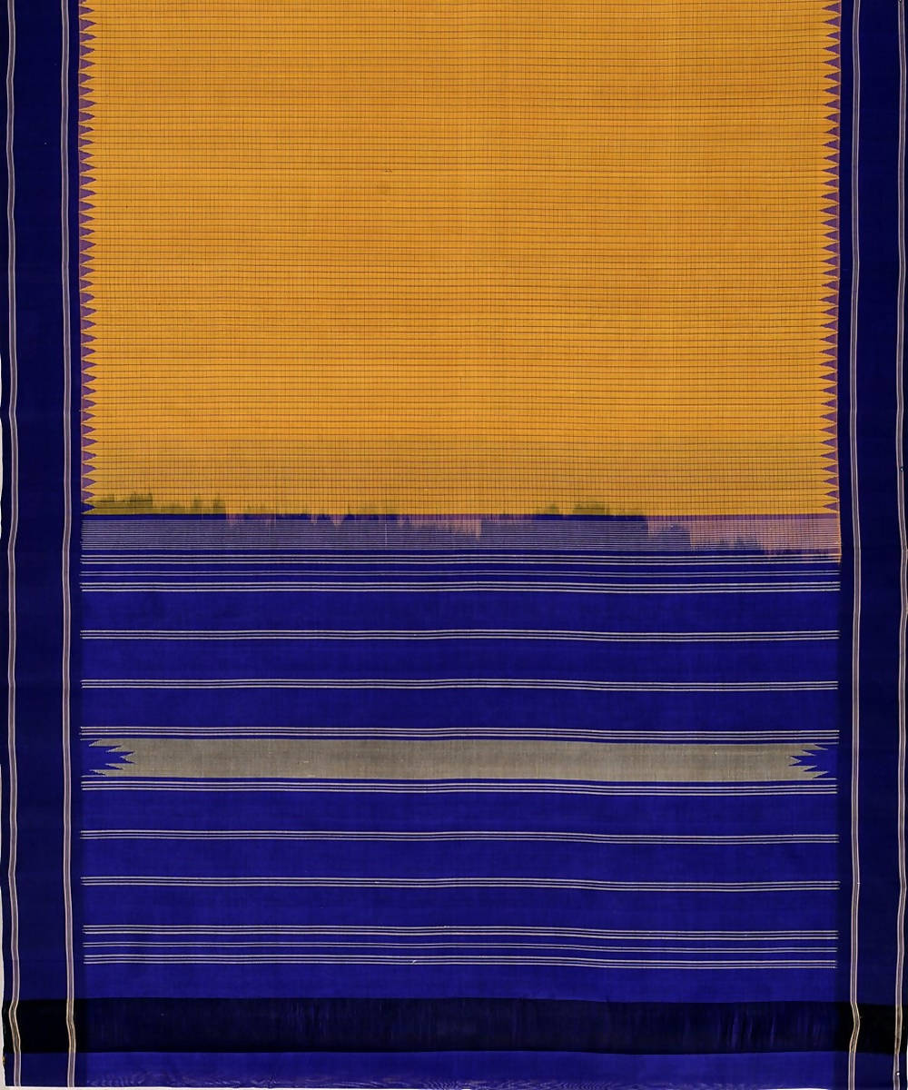 Mustard small checks handloom kanchi cotton silk saree dark blue border