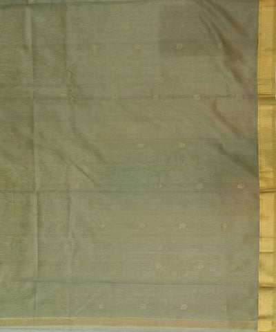 Maheshwari Olive Grey Handwoven Cotton Silk Saree