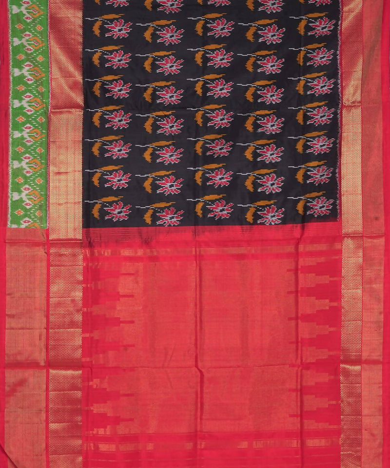 Black Red Handloom Pochampally Silk Saree