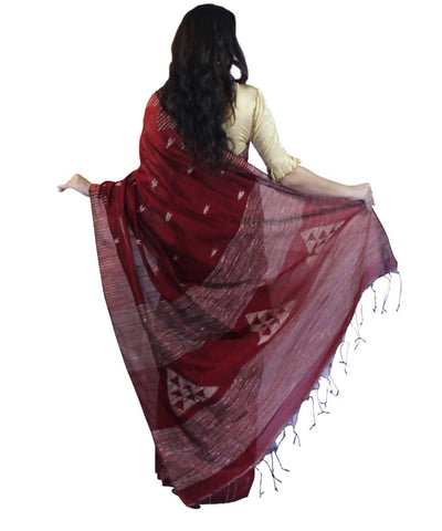Maroon handwoven bengal cotton saree