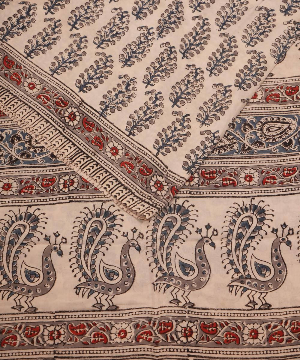 White Kalamkari Hand Block Print Cotton Saree