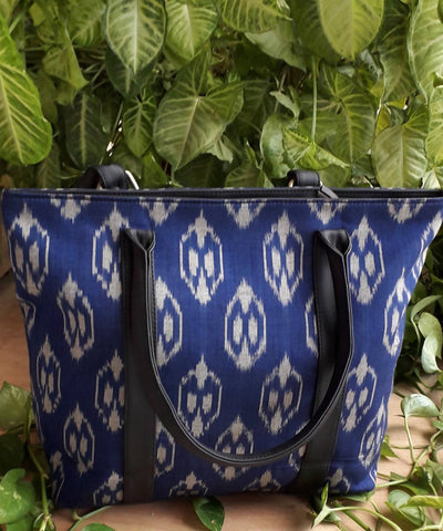 Blooming blue handwoven cotton ikkat handcrafted tote bag
