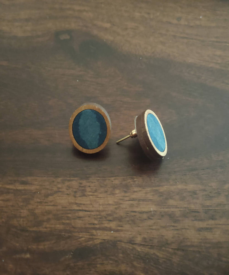 handcrafted upcycled blue kalamkari earring studs