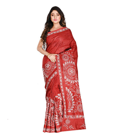 Red Bengal Handloom Kantha Stitch Saree