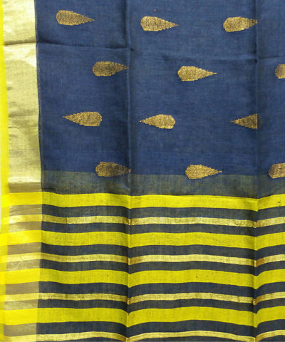 Navy blue and yellow linen jamdani handwoven saree