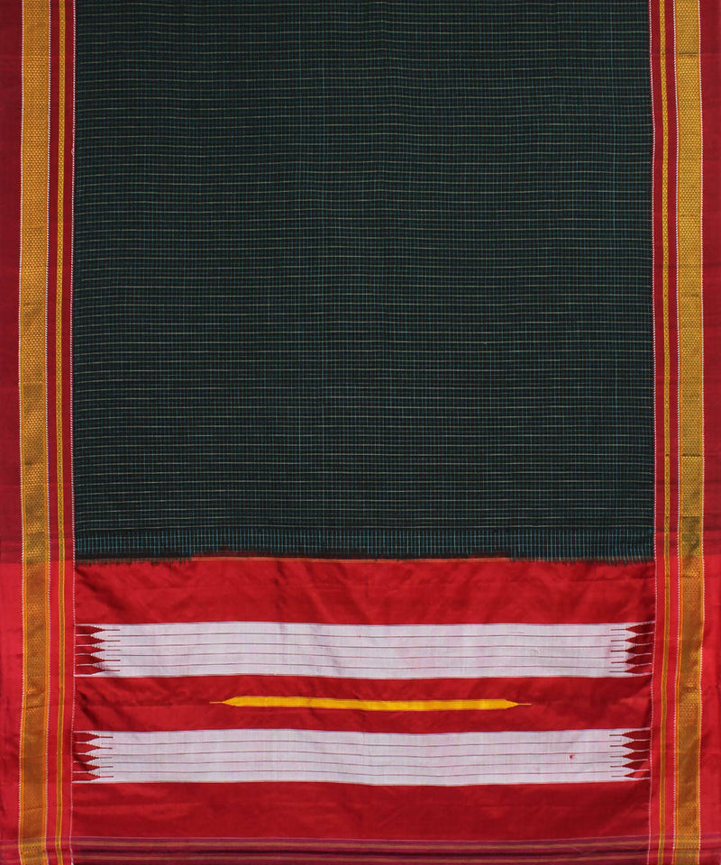 Black Checks Ilkal Handloom Cotton Saree