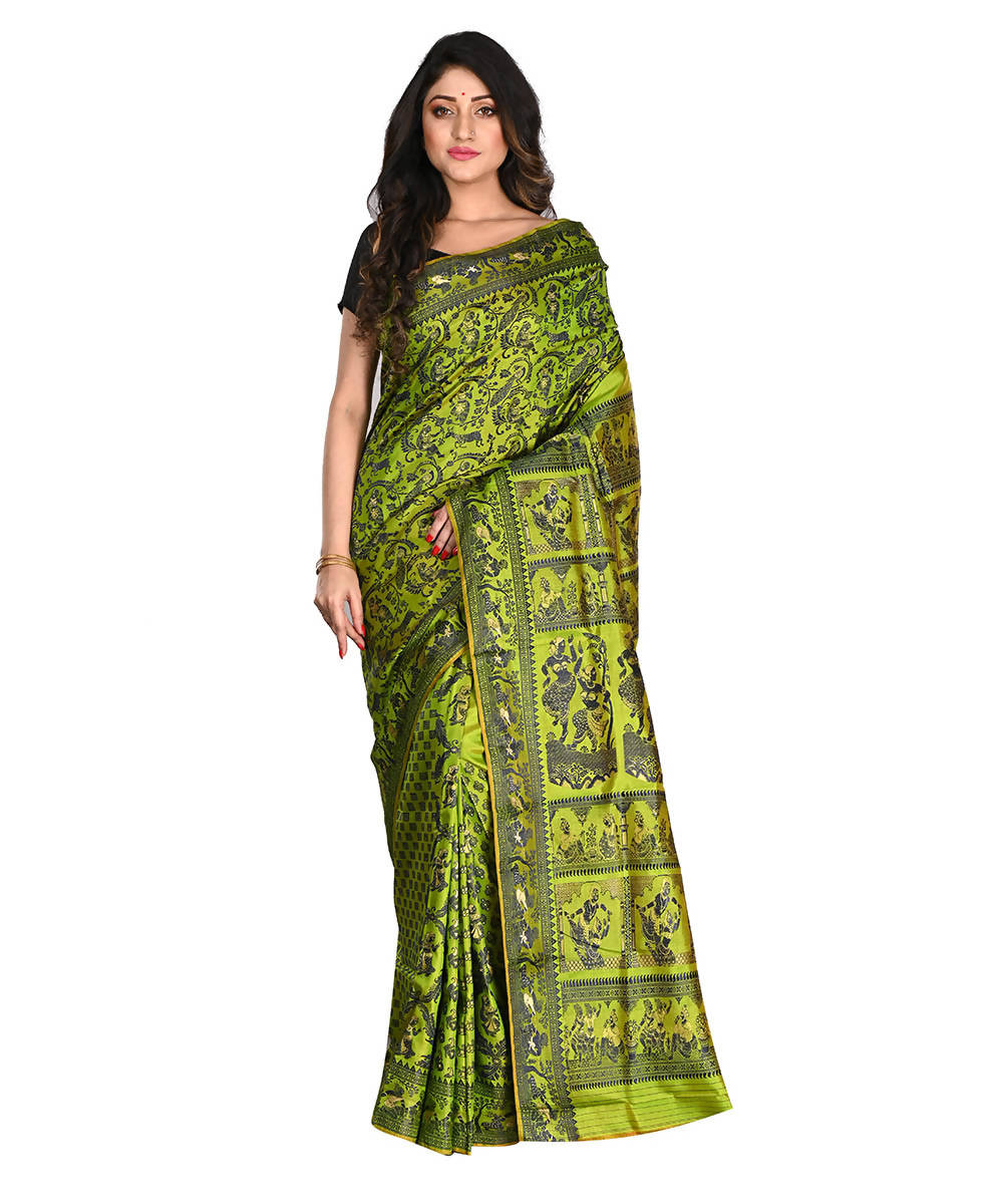 Bengal Handloom Baluchari Silk Green Saree