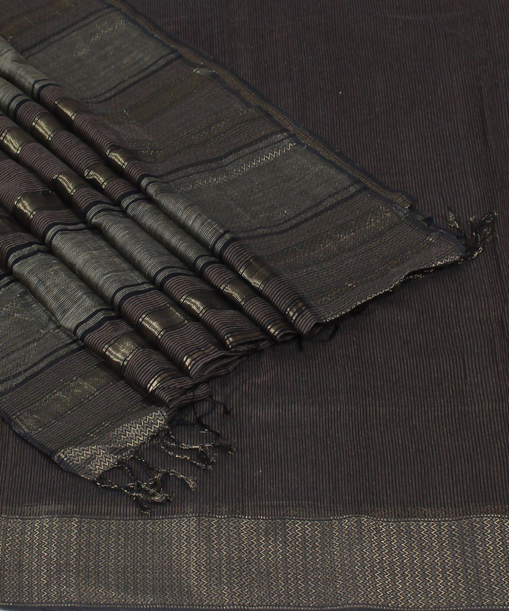 Brown Maheshwari Handloom Cotton Silk Saree