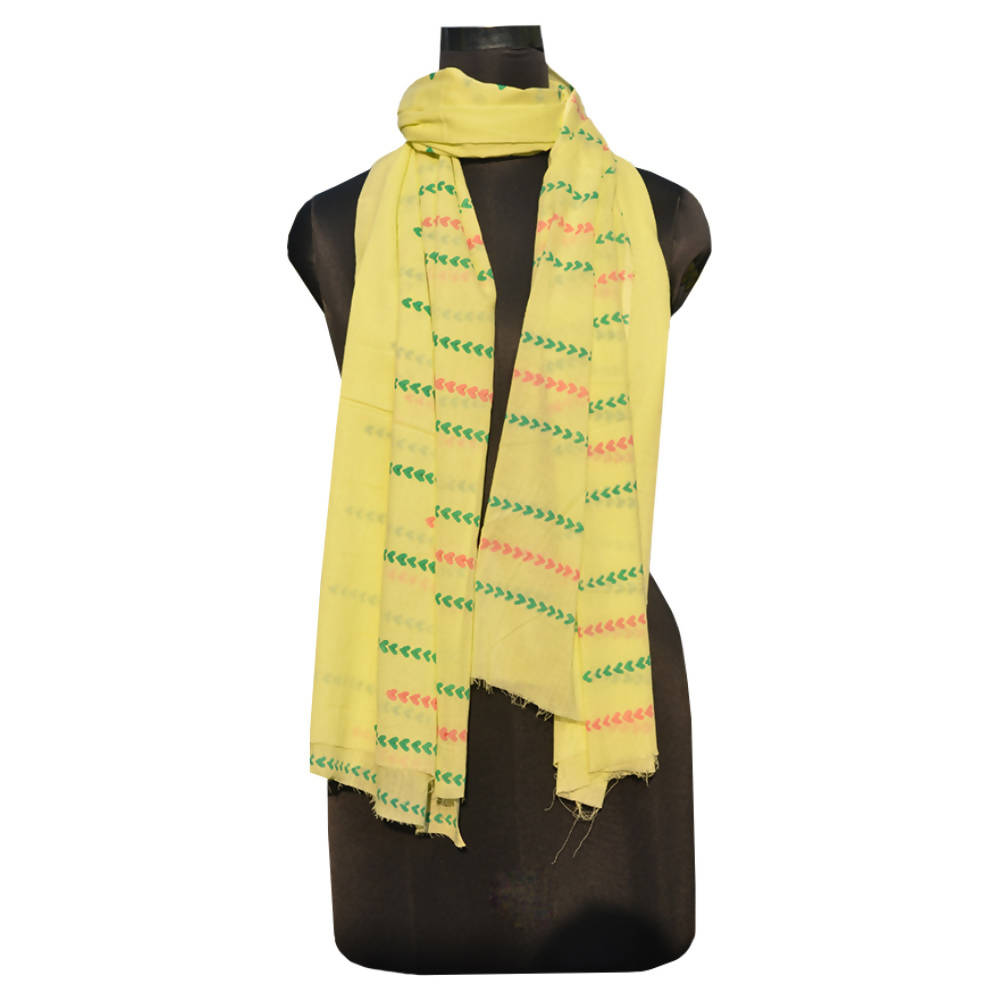 Yellow handspun handwoven wooden heart block printed dupatta