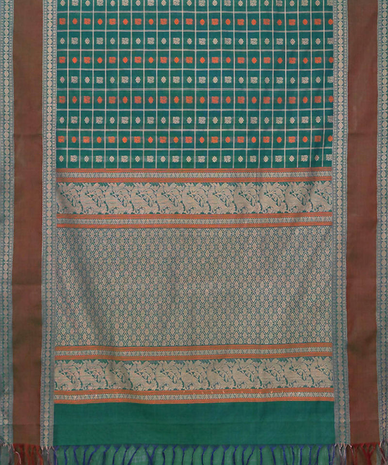 Dark Green Handloom Thousand Butta Saree