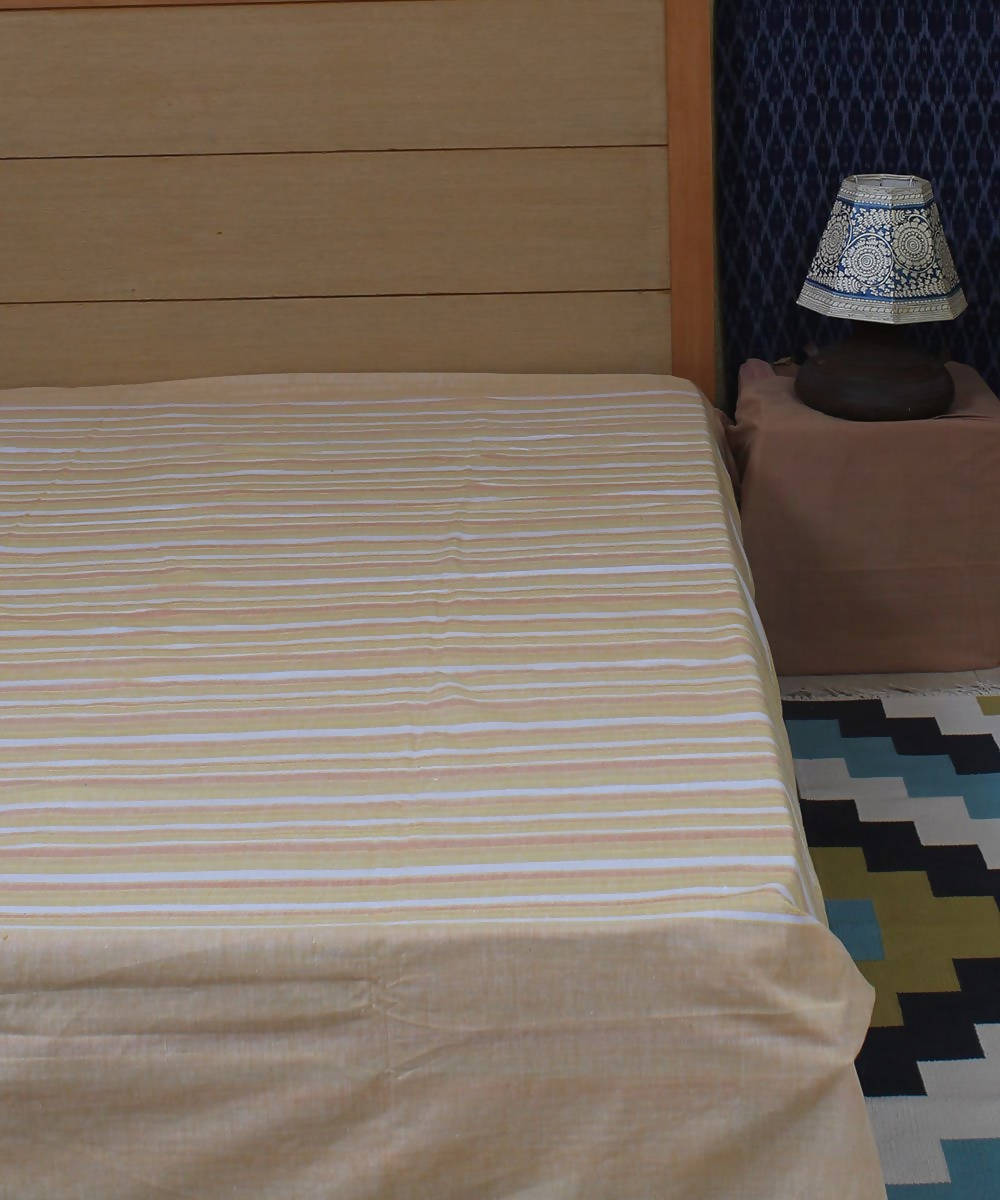 Yellow Handwoven Stripe Double Bed Cover