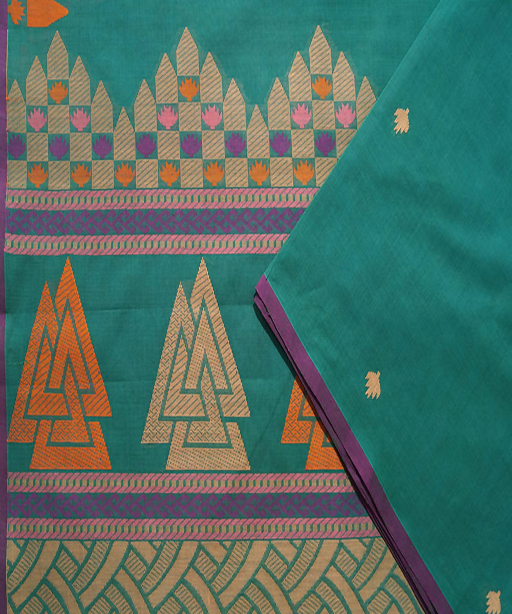Teal Green Paramakudi cotton handwoven saree