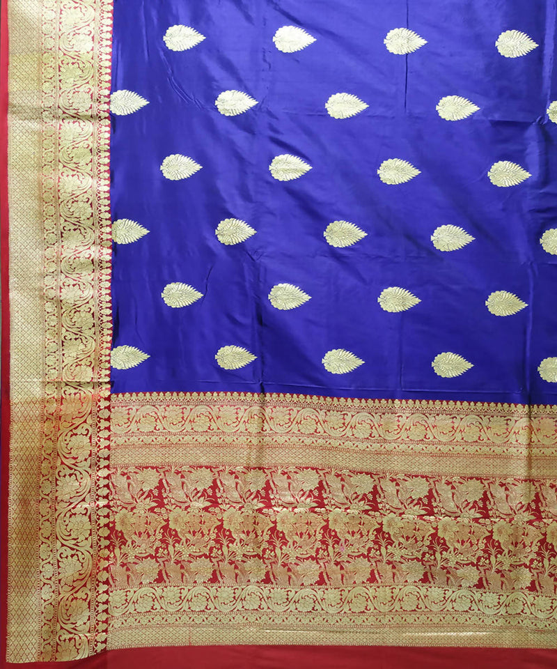 Banarasi royal blue handwoven katan silk saree