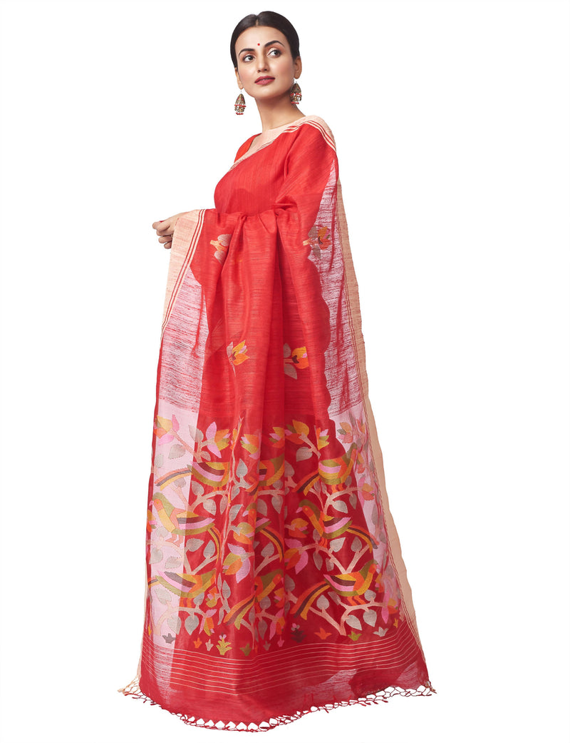 Biswa Bangla Handloom Matka Silk Jamdani Saree - Red