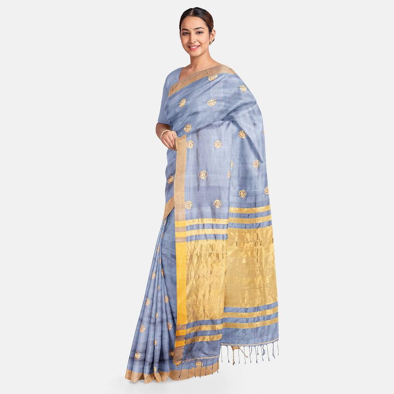 Biswa Bangla Handwoven Silk Saree - Grey and Golden