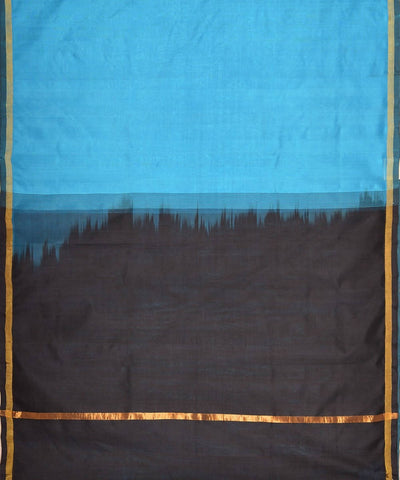 Ananda blue and black kanjivaram silk cotton saree