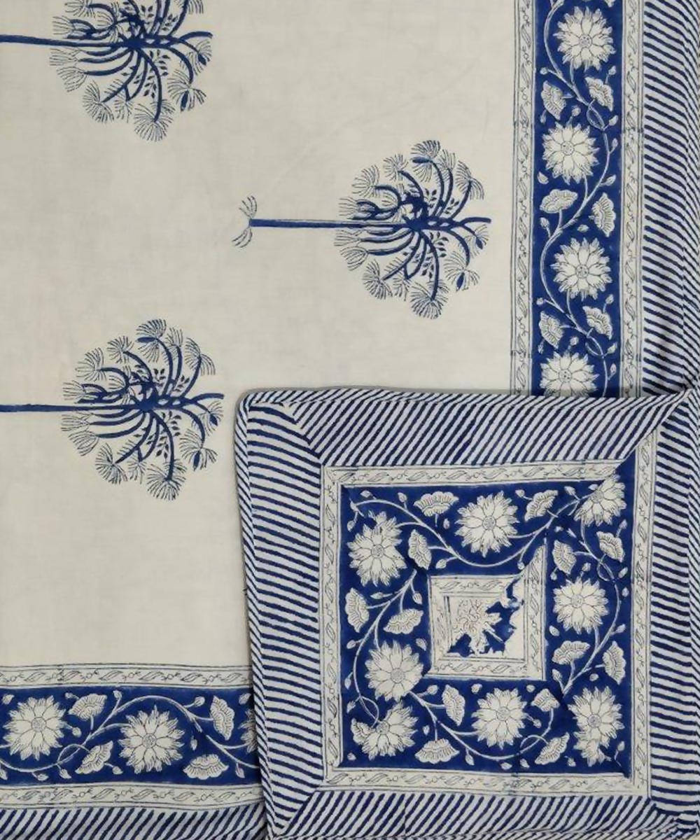 Blue white Palm Tree Handblock Printed Cotton Double Dohar