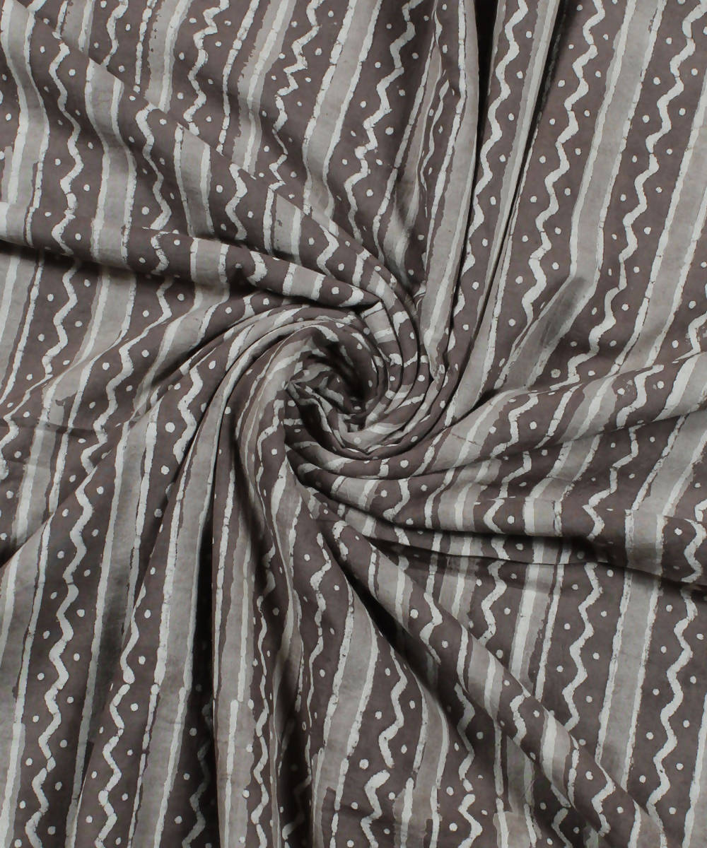 Brown Cotton Handblock Dabu Print Fabric