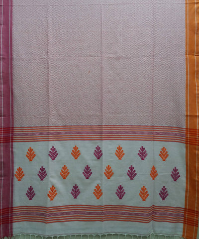 Off white handwoven cotton bengal saree