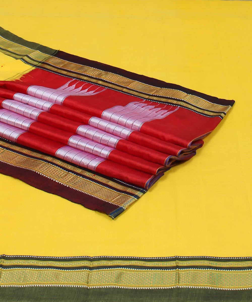 Yellow Handloom Ilkal Cotton Saree