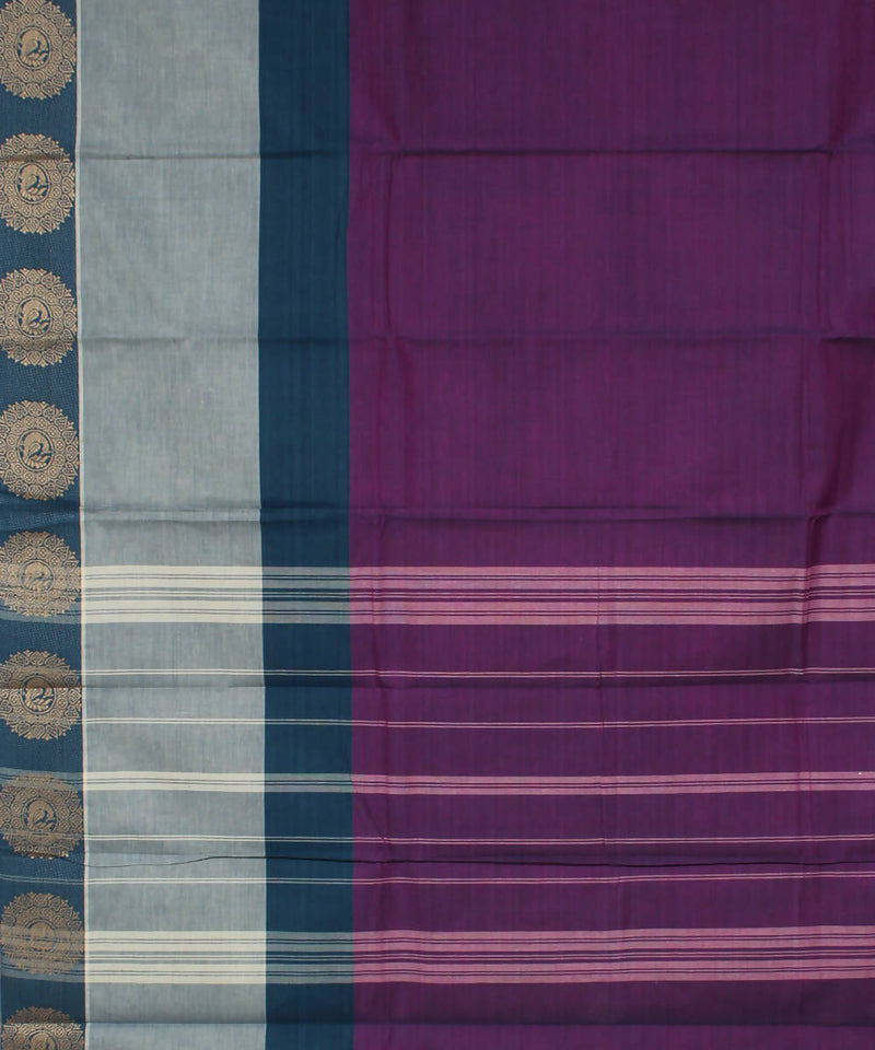 Purple Handloom Cotton Saree