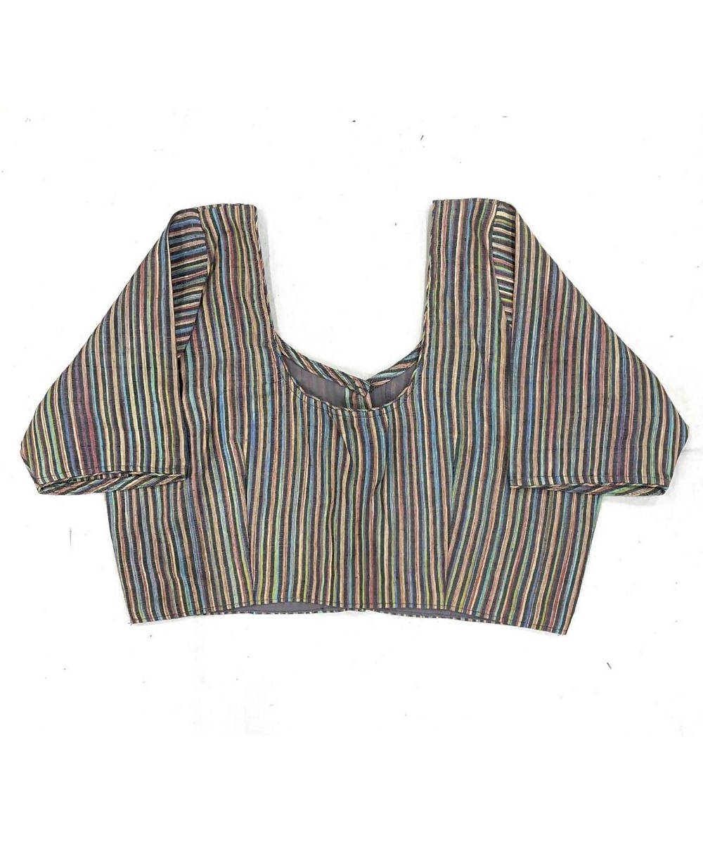 Grey handwoven cotton silk stripe blouse