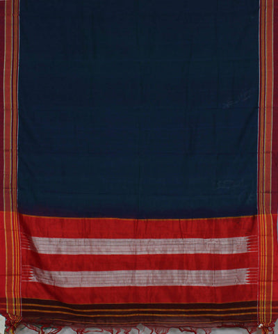 Navy Handwoven Ilkal Cotton Saree