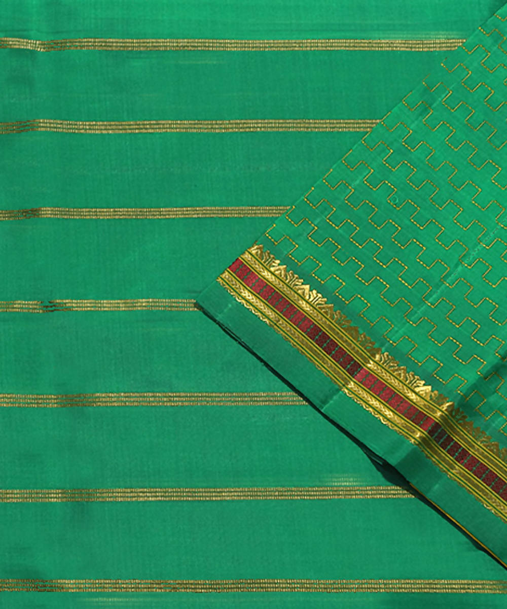 Dark Green Handloom Kancheepuram Silk Saree