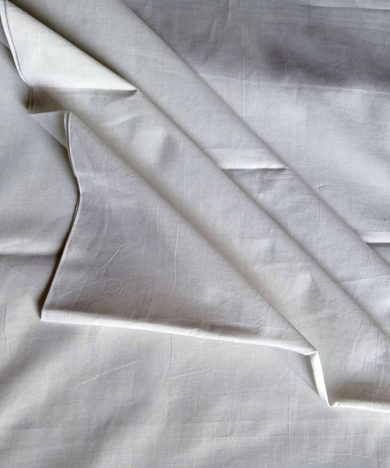 white organic handspun handwoven cotton kurta fabric