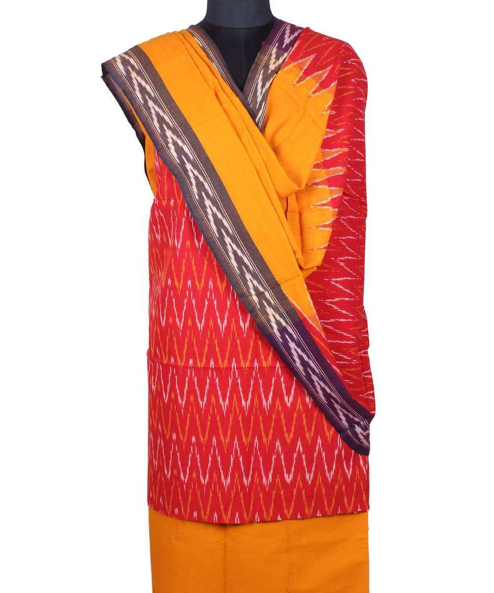Red handloom pochampally cotton suit