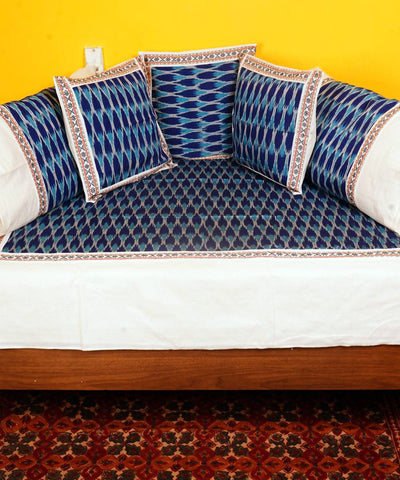 Blue Handloom Pochampally Diwan Set