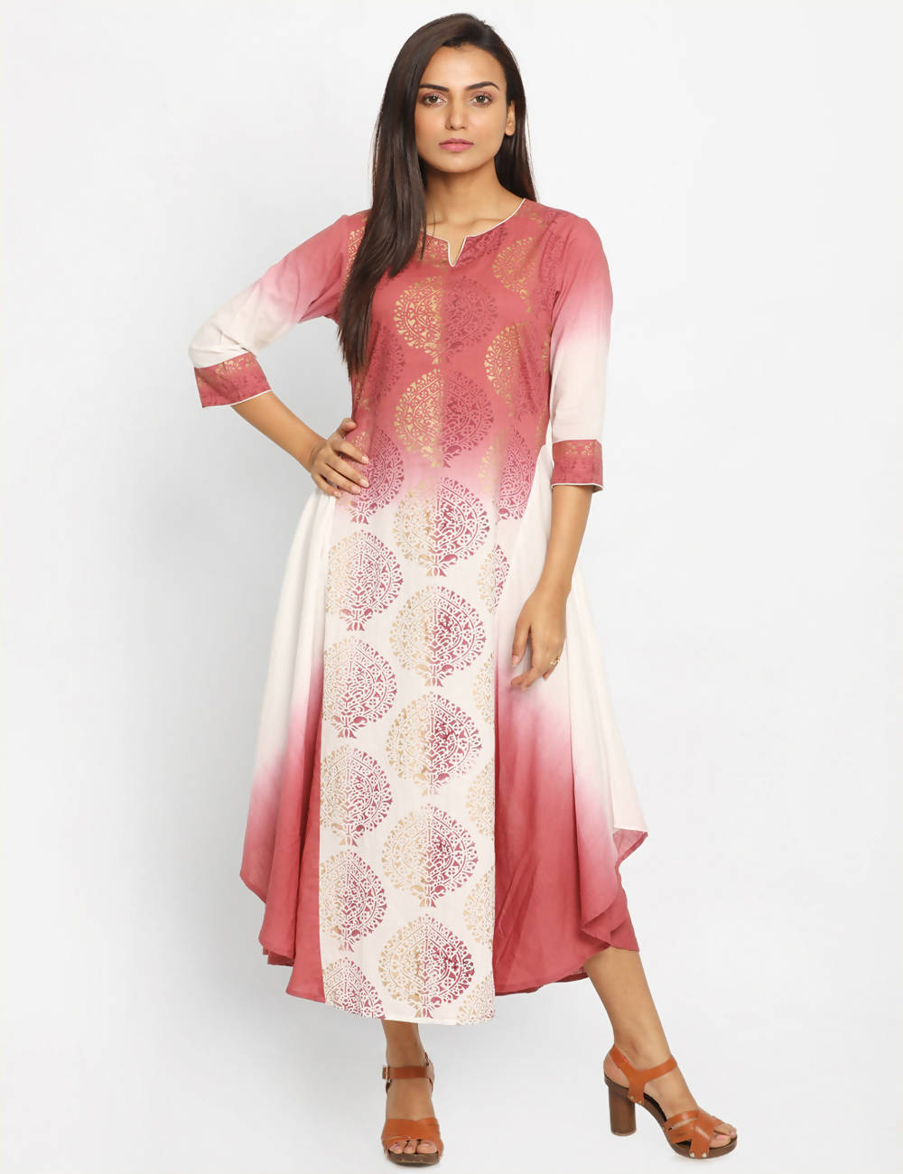 Brown White Handwoven Cotton Kurta Dress
