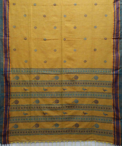 Bengal Mustard Yellow Handwoven Cotton Saree